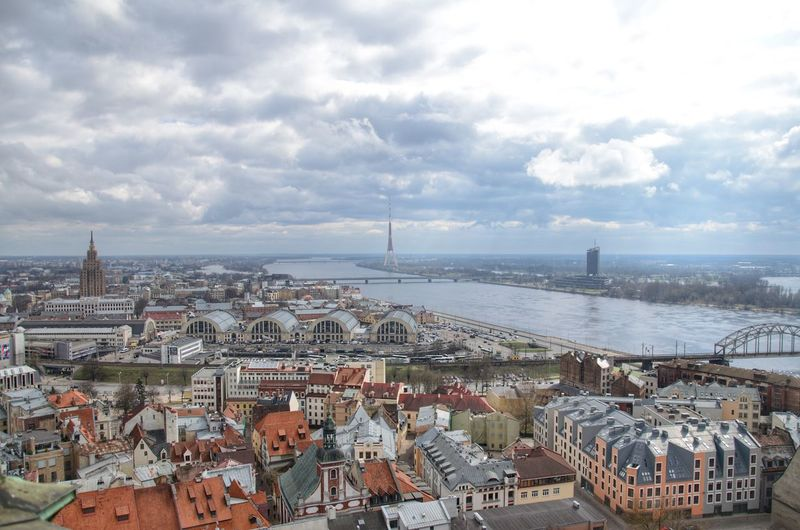 Riga and View of the Central Market City Skyline Latvia Baltics Sky Aerial EyeEmNewHere