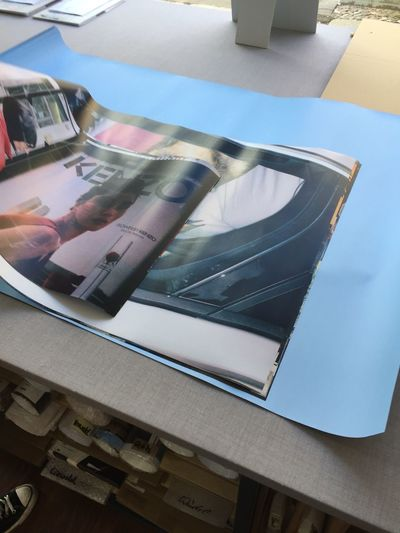 Blue back print