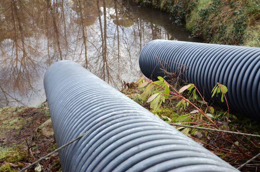 Corrugated Pond Muddy Water No People Outdoors Outlets Pipe - Tube Tube Water