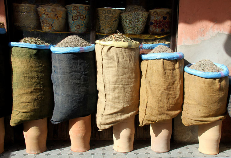 Sacks side by side at market stall