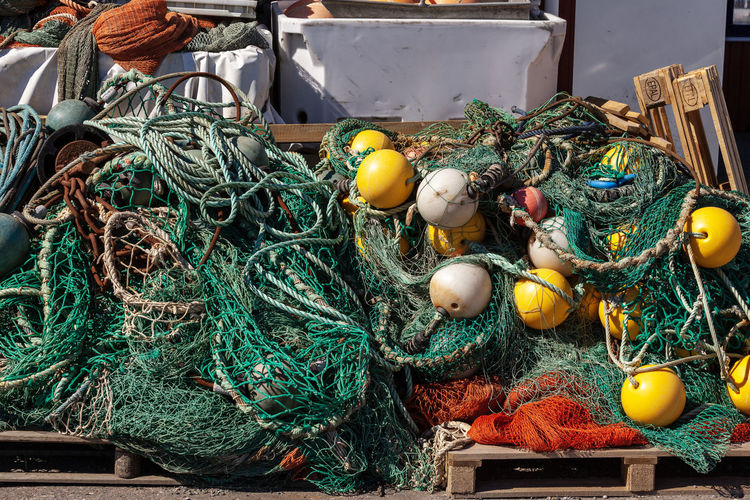 High angle view of fishing net