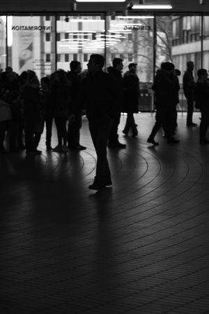 Blackandwhite Bw City Life Crowd Day Floor Ground Illuminated Indoors  Information Large Group Of People Men Monochrome Monochrome Photography Museum Museum Ludwig People Real People Standing Structure Symmetry Urban Urban Geometry Waiting Women