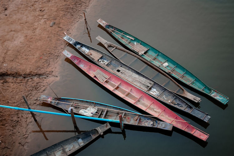 High angle view of abandoned ship moored in lake