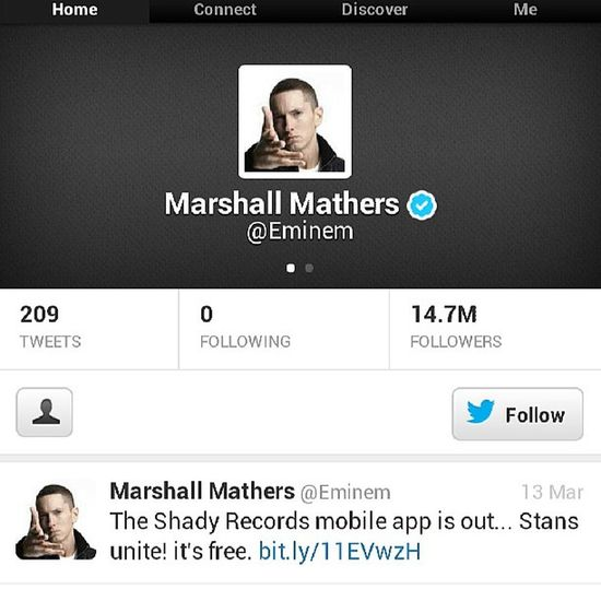What a boss MarshallMathers .. He doesn't even follow Dr. Dre Dies