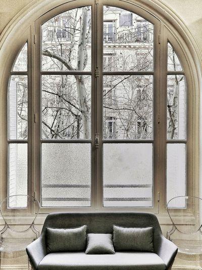 View of empty glass window