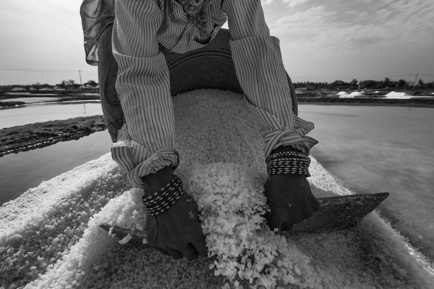 Workers at Salt Pan Blackandwhite Daily Life Day Hardwork Labour Life Men Monochrome Outdoors People Salt Salt Pan Water