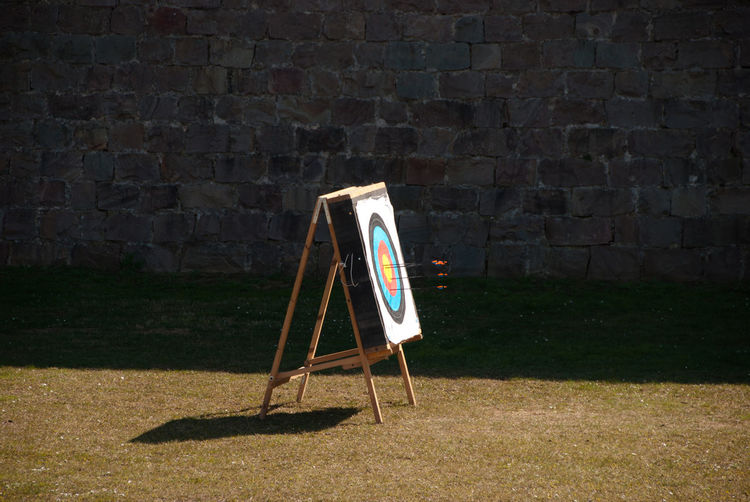 Dart Board On Grassy Field Against Wall
