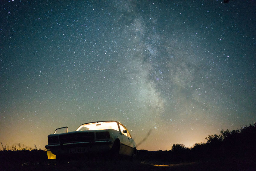 Lost In The Landscape Astronomy Astronomy Telescope Beauty In Nature Car Constellation Galaxy Milky Way Nature Night No People Outdoors Sky Space Space Exploration Star - Space Starry Tree