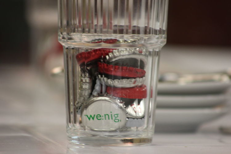 Wenig Bottle Cap Close-up Focus On Foreground Glass Indoors  Macro No People Rare