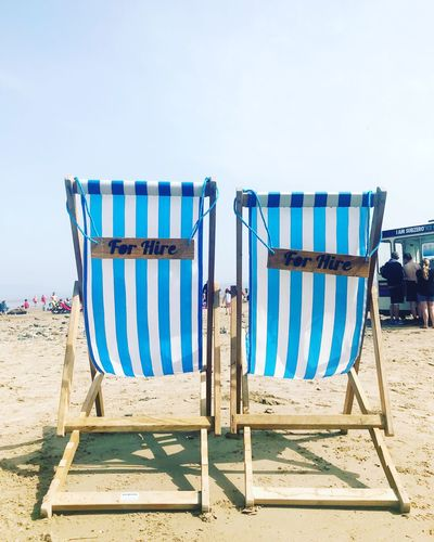 Deckchairs Hireme Deckchairs Sky Beach Land Day Clear Sky Side By Side Sunlight Striped Chair
