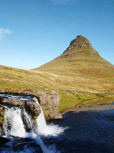 Iceland Icelandic Landscape Snaefellsnes Peninsula Kirkjufell Kirkjufellsfoss Kirkjufell Mountain Pyramid Shape Water Mountain Sky Landscape Grass Natural Landmark Physical Geography