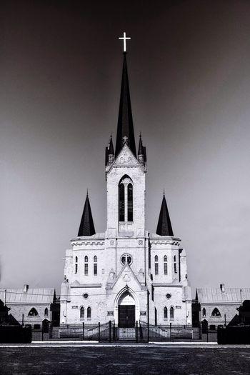 Chapel Ukraine Lutsk Architecture Spirituality Cross Symmetry Gradiented Sky Vertical Monochrome