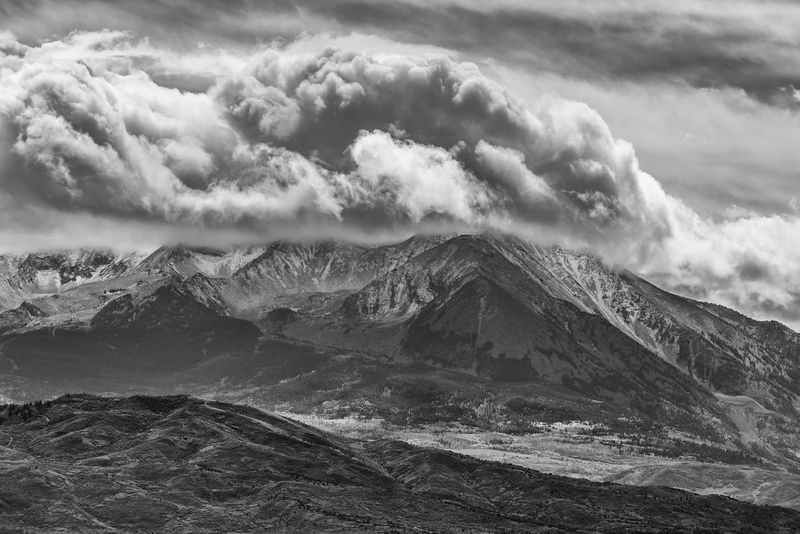 Mount Sopris in Carbondale, CO in black and white Ansel Adams Inspired Aspen, Colorado Bad Weather Dramatic Sky Mount Sopris Roaring Fork Valley Weather Beauty In Nature Black And White Carbondale, Co Day Dramatic Clouds Landscape Mountain Mountain Peak No People Power In Nature Scenics - Nature Sky Snow Snow Capped Mountain