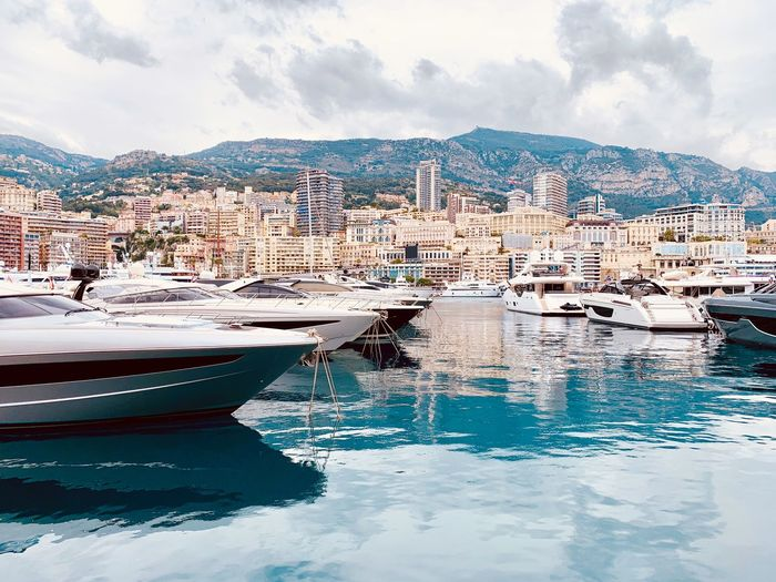 1 Week to F1 GP Côte D'Azur Boatshow Rich Monaco Harbor Water Cloud - Sky Sky Nautical Vessel Sea Day The Mobile Photographer - 2019 EyeEm Awards Transportation Mode Of Transportation Architecture Built Structure City Yacht No People Waterfront