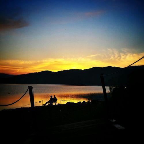 Sunset Sun Lake Fishing Landscape