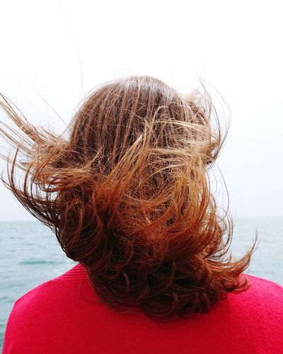 Girl No Face Portrait Hair Windy Blowing Wild Hair Hair In The Wind Red Hair Ginger Auburn Bright Colour Bold Red Red Head Water Sea Summer Red Close-up