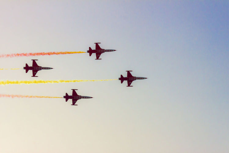 Turkish acrobatic aviation squadron flying over Izmir (Turkey) Acrylic Airshow Formation Flying Freedom Liberation Turkey Acrobacy Air Vehicle Airplane Airshow Anniversary Aviation Fighter Plane Flying Military Airplane No People Pilot Recurrence Sky Speed Teamwork Turkish