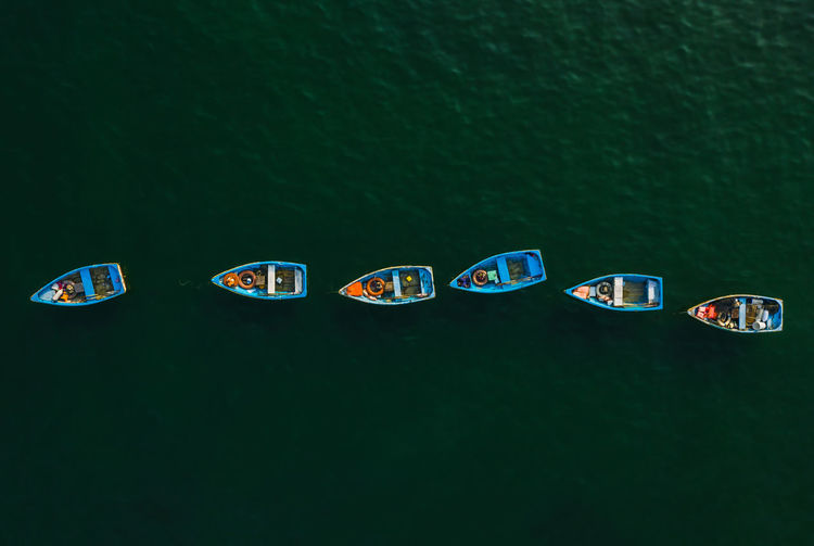 Directly above shot of boats on lake