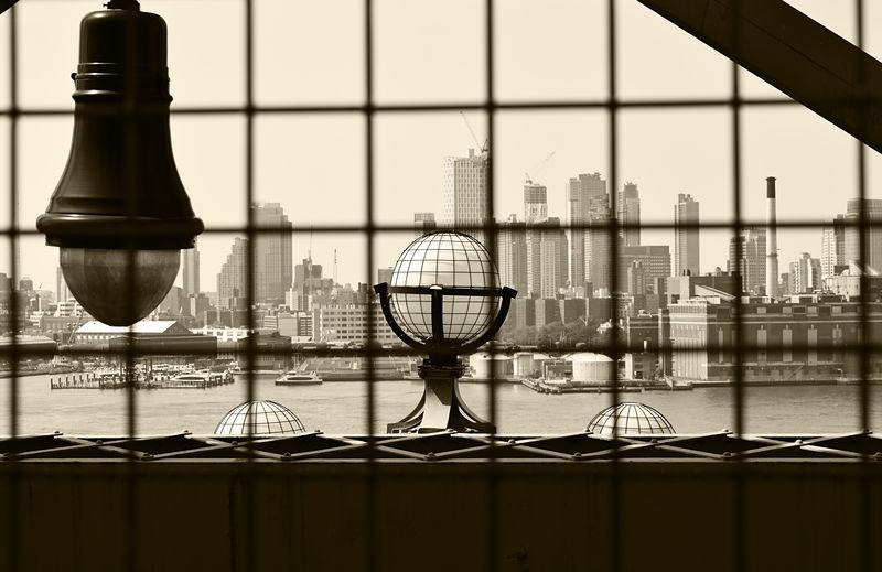 View of city through glass window