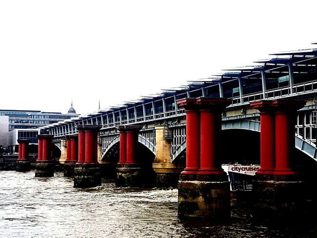 Blackfriars Bridge Unfinished Architecture Thames River Side Water Outdoors Boatlife Red Pillars Dark To Light EyeEmNewHere