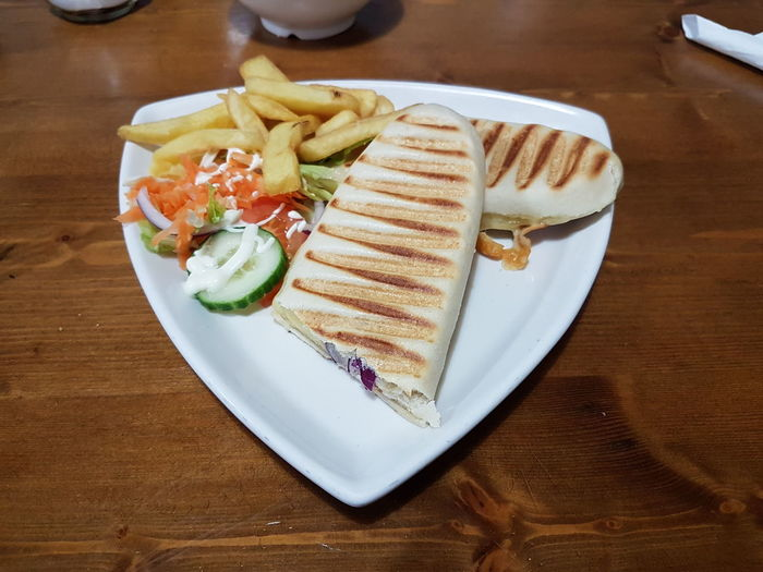 light lunch Food Lunch Panini Check This Out Hello World Eat Me Hungry Triangle Shape My Photography Taking Photos Sweet Food Serving Size Healthy Eating Freshness Temptation No People SLICE Close-up Day