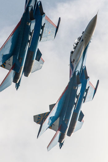 Air Vehicle Airplane Airshow Cloud - Sky Day Fighter Plane Flying Low Angle View MIG 29 Military No People Outdoors Russian Knight Sky Su-27