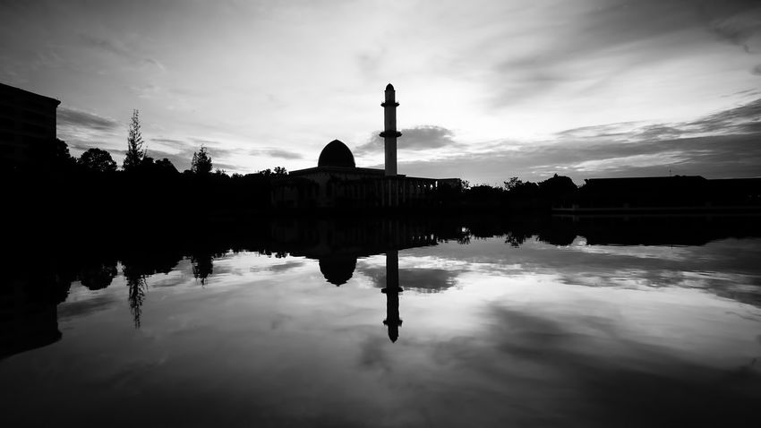 Reflection Cloud - Sky Symmetry Architecture Water Reflecting Pool Travel Destinations Sky No People Outdoors Day Politics And Government Shadows & Lights Shillouette Mosque Malaysia