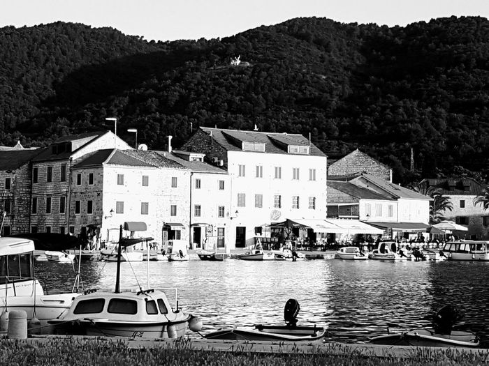 Postcardscollections Nautical Vessel Building Exterior Architecture Water Outdoors Built Structure Sea Day Moored Tree Travel Destinations Vacations People Sky Galaxys7picture Croatia B&w Edit Black & White Black&white Photography Postcardsfromcroatia Dalmatia