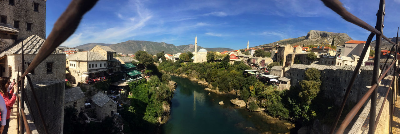 Balkan Mostar Mostar Bosnia Mostar Bridge Mostar ♥ Old Town Panoramic Architecture Balkans Beauty In Nature Cityscape History IPhoneography Minaret Mobilephotography Mosque Mountain Nature Neretva EyeEm Selects River Sky Travel Destinations View From Above EyeEmNewHere