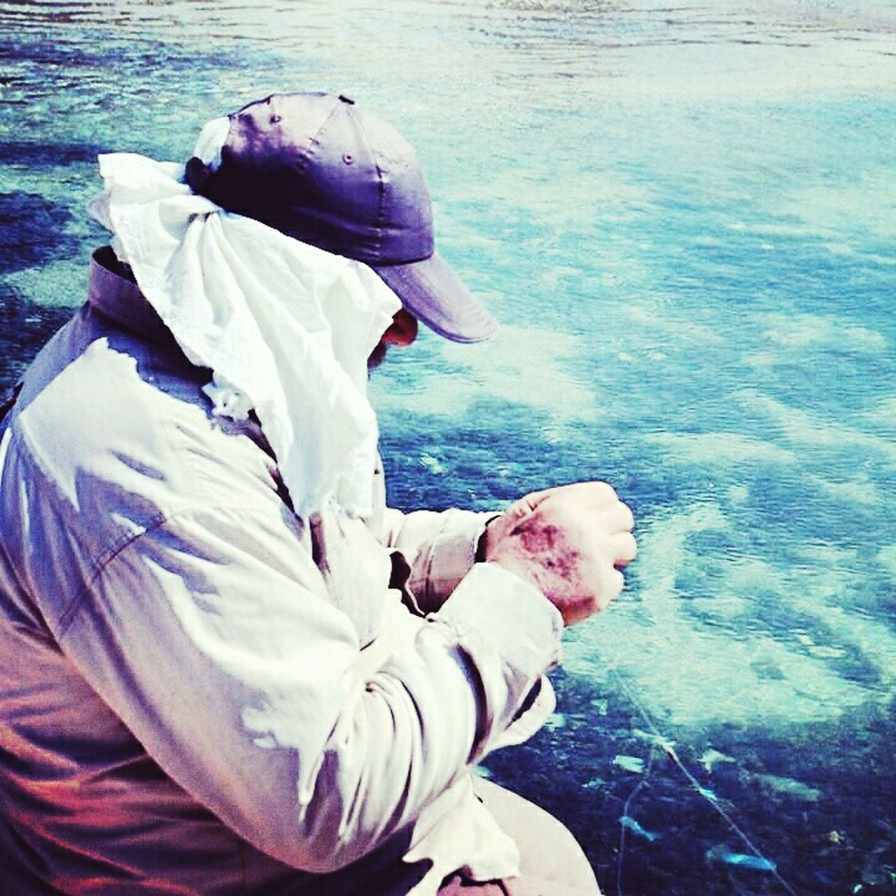 real people, sea, water, outdoors, one person, day, men, standing, nature, protective workwear, people