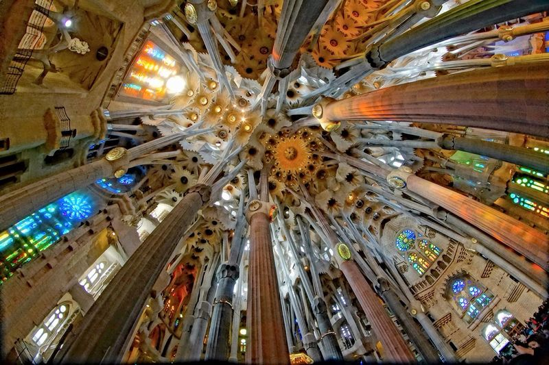 Segrada Familia Barcelona Cathedral Architecture SPAIN Traveling Looking up inside one of the most beautiful buildings in the world