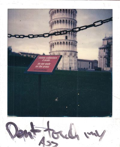 Do not walk on the gras Tower Of Pisa Pisa Polaroid Polaroid 600 Italia Safe The Gras Do Not Walk On The Gras  City Architecture Building Exterior