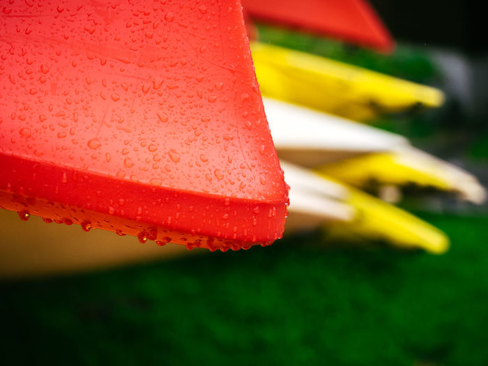 Boat Close-up Day Drop Focus On Foreground Kayak Macro No People Norway Outdoors Red Scandinavia Vibrant Color Water Wet
