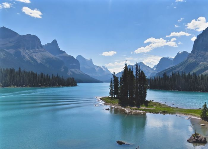 Alberta Reflection Beauty In Nature Canada Day Lake Maligne Lake Mountain Mountain Range Nature No People Outdoors Reflection Scenery Scenics Sky Spirit Island Tranquil Scene Tranquility Tree Water Waterfront