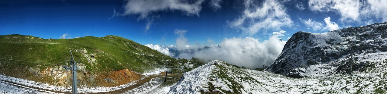 Panorama Alps Beauty In Nature Cloud - Sky Cold Temperature Day Environment Landscape Mountain Mountain Range Nature No People Non-urban Scene Outdoors Panoramic Panoramic Photography Road Scenics - Nature Sky Snow Tranquil Scene Transportation Winter