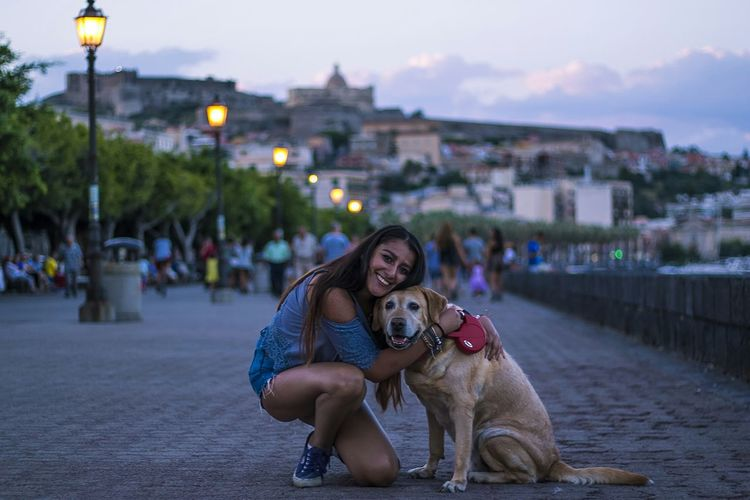 Dog Girl Doglovers Lovers Love Hug Cute Animallovers City Coast Town Lights Smile Happy