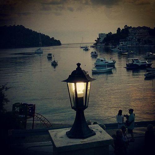 Sunset Korčula Island Brna dock boat light sea