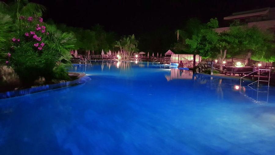 View of swimming pool at night