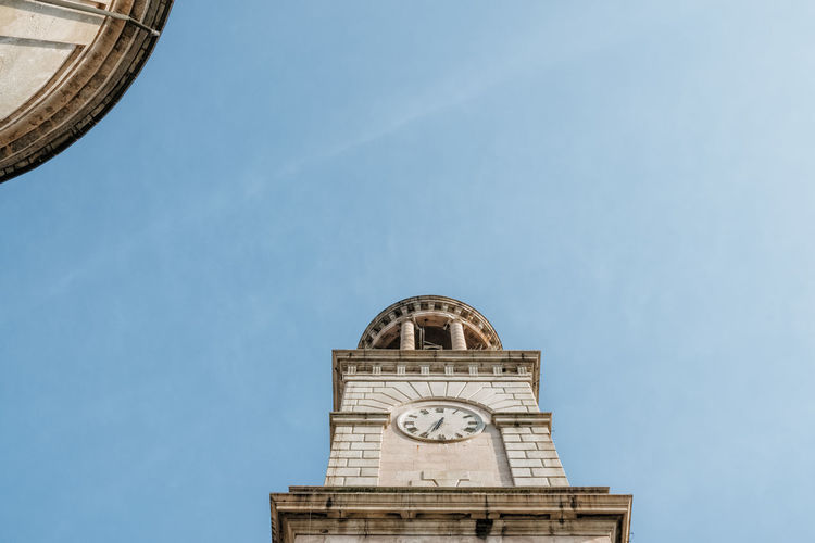 Architecture Nature Clock Sky Building Day History Tower The Past No People Low Angle View Building Exterior Built Structure Clock Tower Time Blue Copy Space Travel Destinations Clear Sky Instrument Of Time Clock Face Minute Hand