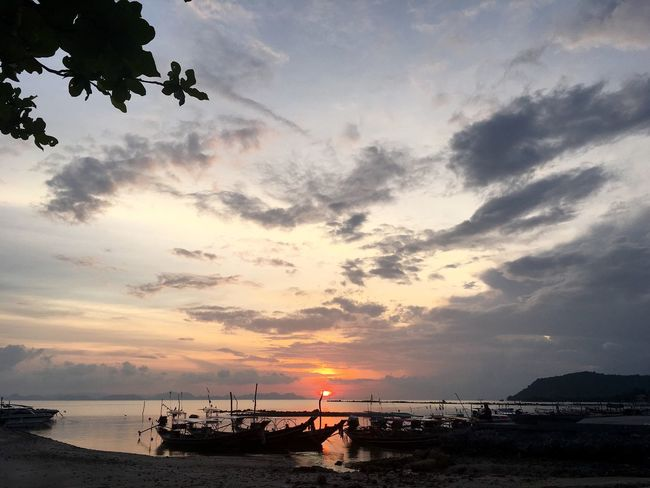 Red sunset Sunset Sky Sea Water Cloud - Sky Beauty In Nature Ship