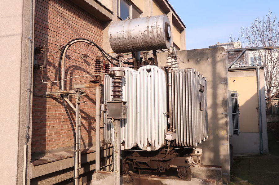 Electricity transformer Electric High Voltage Power Power Plant Station Substation Transformer Transmission Architecture Building Building Exterior Built Structure Danger Dangerous Electrical Electrician  Electrician, Energy, Engineer, Equipment, Electricity  Energy Network No People Sub Station Transform Voltage