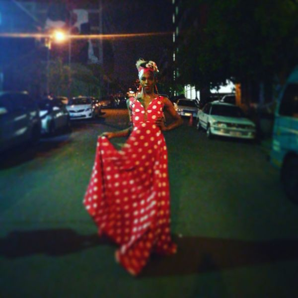 Red Night Drag Queen Dress Polkadots Maboneng Precinct Urban Lifestyle People And Places Street Photography Street Light HuaweiP9 Huaweiphotography