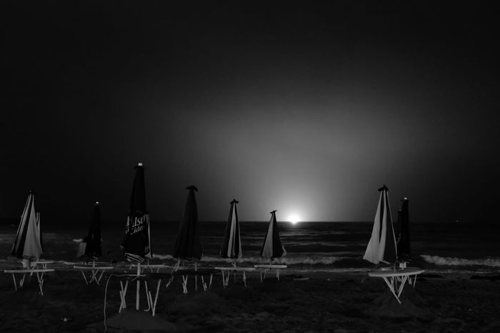 Beach Sand No People Tables Sea Outdoors Night Night Sea Nature Water Sky Black And White