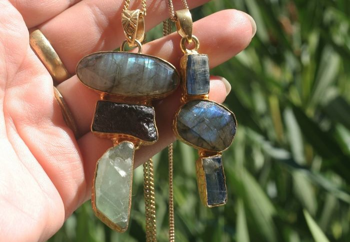 Jewels Pendants Labradorite Fluorite Grenat Kyanite Gemstones