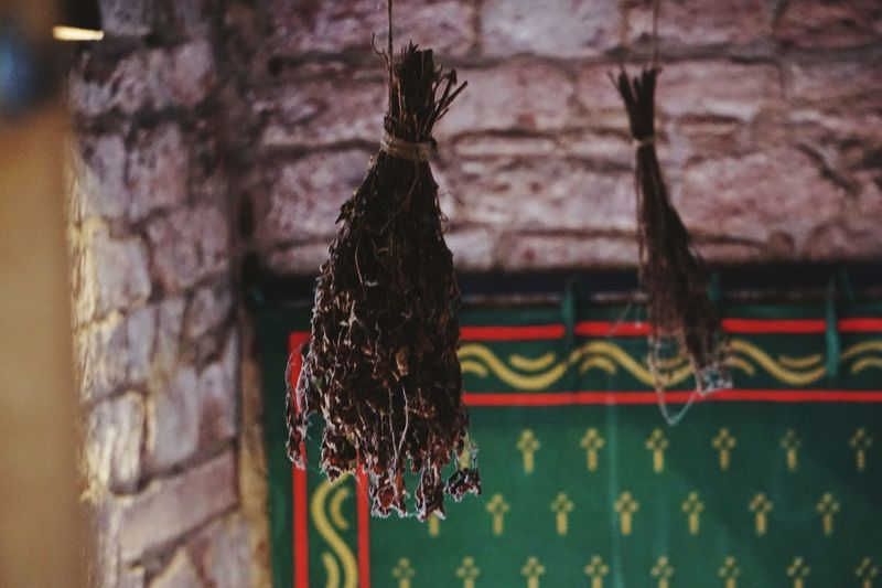 Dried flowers hanging from ceiling