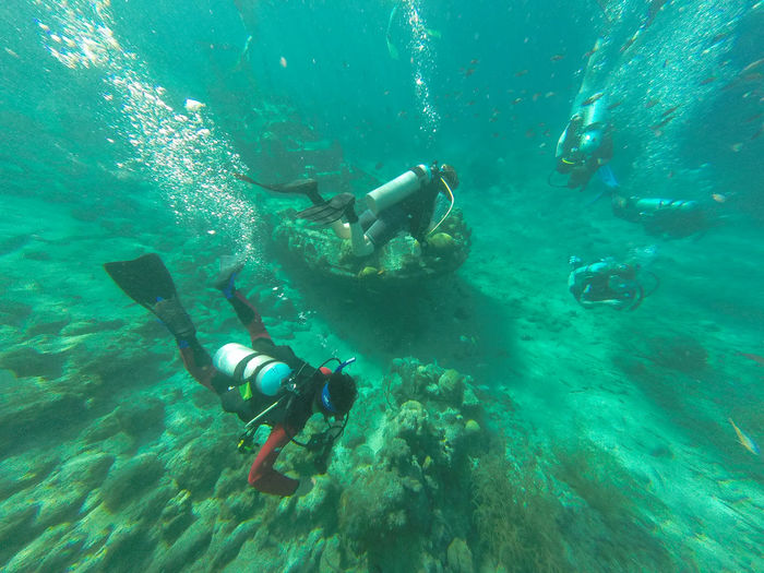 High angle view of people doing underwater diving in sea