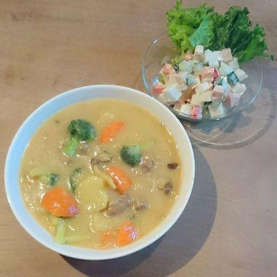 今日の我が家の晩御飯シリーズ 和風シチュー カラフルサラダ(大根とハムとパプリカとキュウリ)
