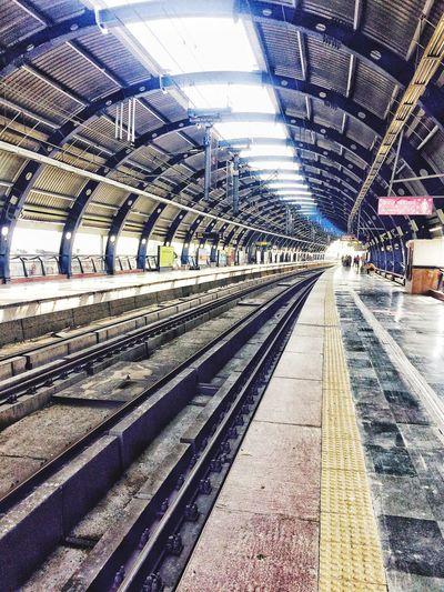 Metro Station looks on a Sunday ....... Transportation Rail Transportation Public Transportation Railroad Track No People Sodelhi DelhiGram Nocrowd Quite Place On A Sunday Delhimetrostation DelhiMetro Delhimetrodaily Delhi_igers Delhidiaries Delhi, India