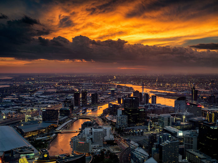 High Angle View Of Melbourne At Sunset