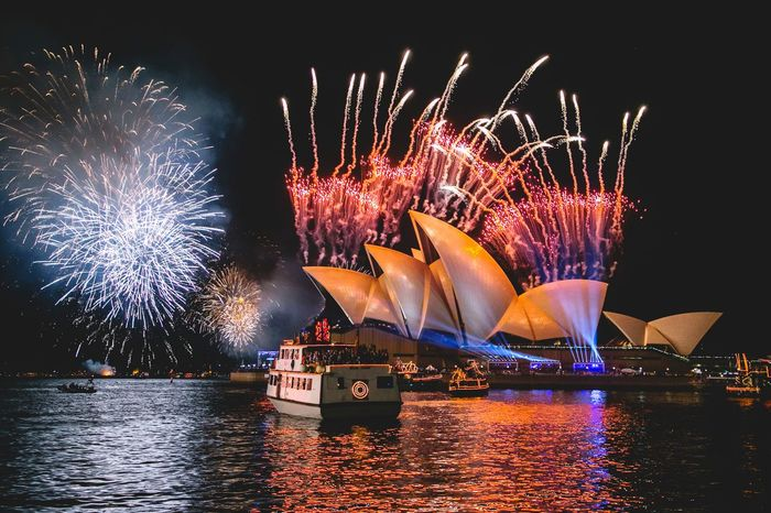 Happy New Year! Exploding Firework Display Night Celebration Firework - Man Made Object New Year's Eve Water Multi Colored Harbor Cityscape Bridge - Man Made Structure Outdoors Midnight Sky No People Countdown Annual Event Sydney Australia